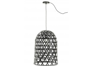 Vyplétaná černá závěsná lampa Bambo z bambusových listů - Ø 41,5*58,5 cm