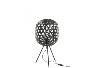 Vyplétaná černá stojací lampa Bambo z bambusových listů - Ø 29*59,5 cm