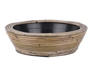Kulatý ratanový květináč Drypot Stripe antik šedá - Ø30*12 cm