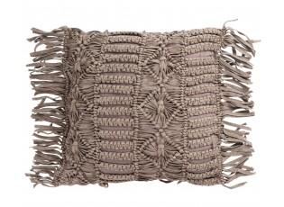Bavlněný polštář Macrame Taupe s třásněmi  - 45*45 cm