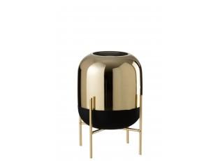 Skleněná černo-zlatá dekorační váza na podstavci - Ø 20*27cm