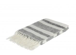 Krémovo - černý pléd s třásněmi Stripes - 130*170 cm