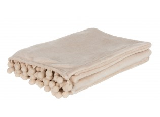 Béžový flísový pléd s malými bambulkami Pompoms - 130*170*0 cm