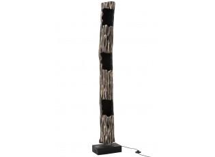 Stojací dřevěná lampa Paulownia Black 3 - Ø 20*170 cm