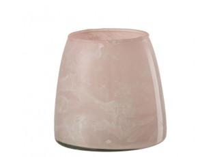 Růžový mramorovaný skleněný svícen - Ø 9 * 9 cm