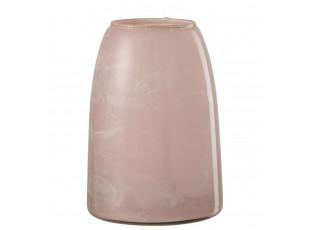 Růžový mramorovaný skleněný svícen - Ø 15 * 22 cm