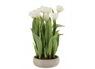 Bílá dekorační kytička Tulipány v květníku - 30*31*48cm