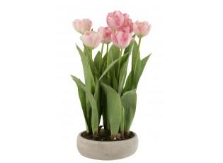 Růžová dekorační kytička Tulipány v květníku - 30*31*48cm