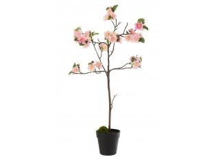Dekorace umělý růžový kvetoucí stromek - 22*22*90 cm
