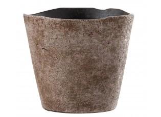 Růžovo-hnědý keramický obal na květináč Brute - Ø 22*20cm