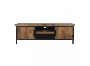 Hnědý dřevěný TV stolek Fil s kovovou konstrukcí - 145*40*50 cm