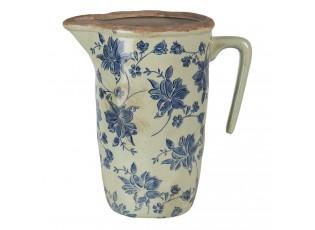 Keramický džbán s modrým potiskem L - 22*14*22 cm