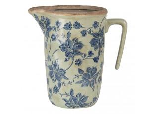 Keramický džbán s modrým potiskem M - 22*14*22 cm