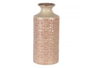 Béžovo růžová keramická váza se vzorem květin Alisa M - Ø 13*30 cm