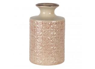 Béžovo růžová keramická váza se vzorem květin Alisa S - Ø 15*25 cm