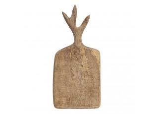 Hnědé dřevěné prkénko s úchopem ve tvaru parohů - 25*12*2 cm