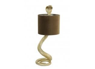 Zlatá stolní lampa va tvaru hada Snake s karamelovým stínidlem - 27*25*68cm / E27