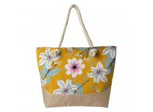 Žluto hnědá plážová taška s květy - 50*36 cm