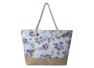 Světle šedo hnědá plážová taška s květinami - 50*36 cm