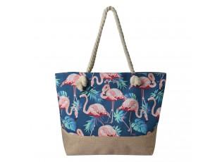 Modro hnědá plážová taška s plameňáky - 50*36 cm