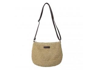 Béžová pletená kabelka s hnědým koženkovým uchem - 25*20 cm