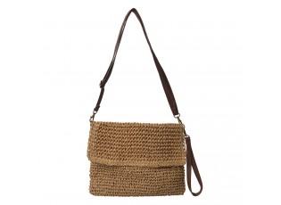 Hnědá pletená kabelka přes rameno s koženkovým uchem - 30*20 cm