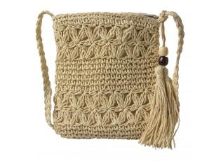 Světle hnědá drhaná taška s korálky - 18*22 cm