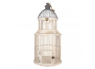 Bílo šedá kovová dekorativní klec s ptáčkem na ptáčky - Ø 36*78 cm