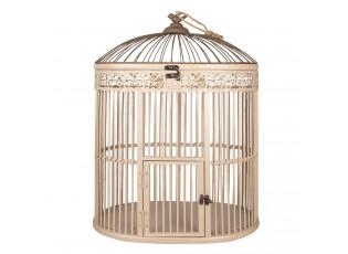 Krémová dekorativní zdobená ptačí klec - 47*32*60 cm