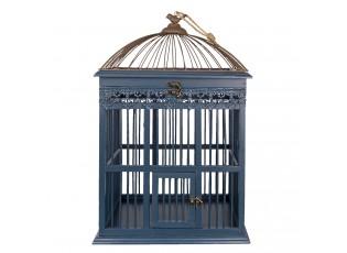 Dřevěná dekorativní klec na ptáčky s ptáčkem na víku - 40*32*60 cm