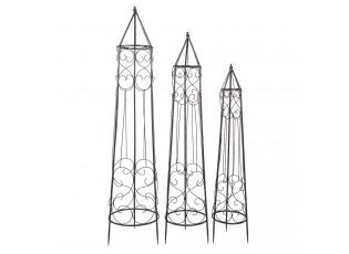 Tmavý kuželovitý kovový stojan na pnoucí se květiny (3 ks)- 34*34*152/ 28*28*136/ 23*23*116 cm