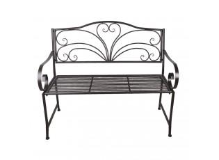 Tmavá kovová zahradní lavička Cecile - 117*50*98 cm