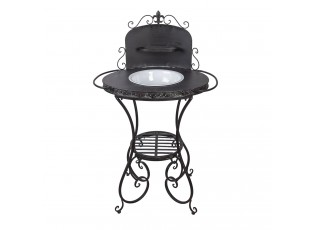 Tmavý kovový stojan ve vintage stylu na umyvadlo - 75*49*116 cm