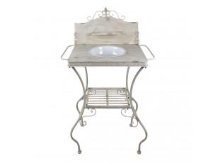 Bílo-šedý kovový stojan s patinou na umyvadlo ve vintage stylu - 72*48*114 cm