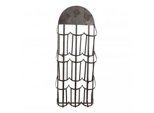 Černý nástěnný kovový stojan na víno - 30*18*83 cm