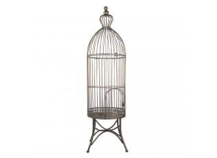 Šedo zlatá dekorativní kovová klec na ptáčky Daisy - Ø 30*107 cm