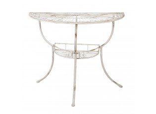 Bílý kovový zdobený nástěnný stůl Colette - 90*48*76 cm