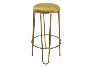 Zlatá kovová barová židle se zlatým sedákem - Ø 41*74 cm