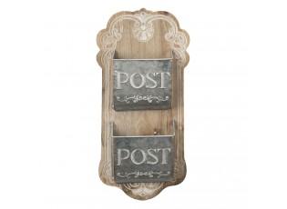Hnědá dřevěná nástěnná dekorace s přihrádkami na poštu - 26*10*53 cm
