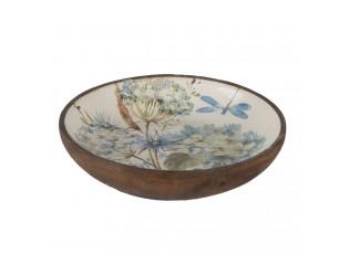 Hnědá dřevěná dekorativní mísa s malbou - Ø 20*4 cm