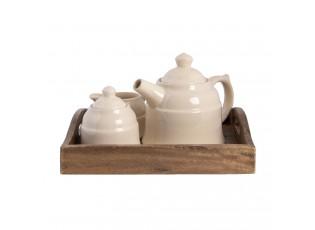 Dřevěný podnos s keramickou konvičkou, mlékovkou a cukřenkou - 27*22*16 cm