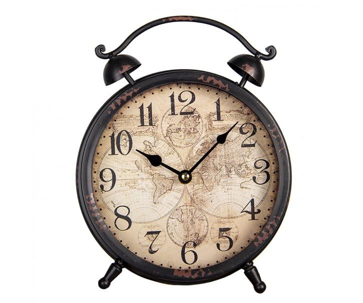Stolní hnědé kovové hodiny s mapou světa - 21*21*6 cm/ 1*AA