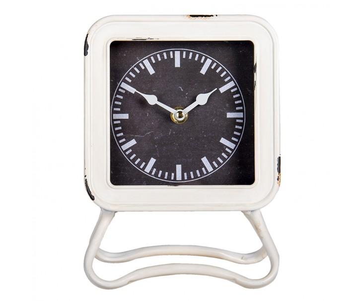 Bílé kovové stolní hodiny s patinou - 16*5*22 cm
