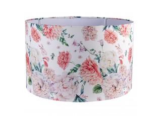 Bílé stínidlo na lampu s potiskem květin - Ø 45*28 cm / E27