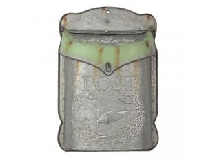 Šedivo zelenkavá retro poštovní schránka Cina - 27*8*39 cm
