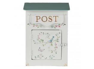 Krémová retro poštovní schránka s ptáčkem - 22*12*31 cm