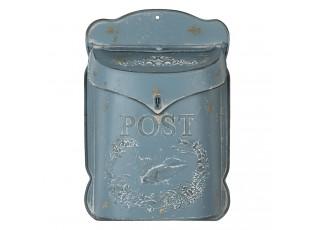 Modrá retro poštovní schránka s ptáčkem - 26*8*39 cm