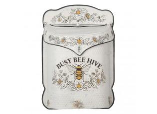Krémová retro poštovní schránka s včelou Bee Hive - 27*8*39 cm