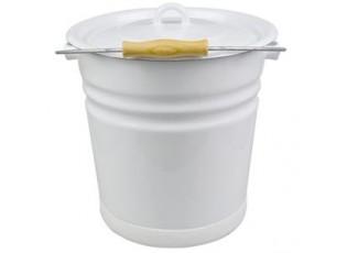 Bílý smaltovaný kyblík s víkem White - Ø26*30cm - 12L