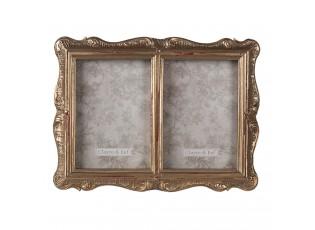 Zlatý zdobený retro fotorámeček na dvě fotografie - 17*2*22 cm / 10*15 cm